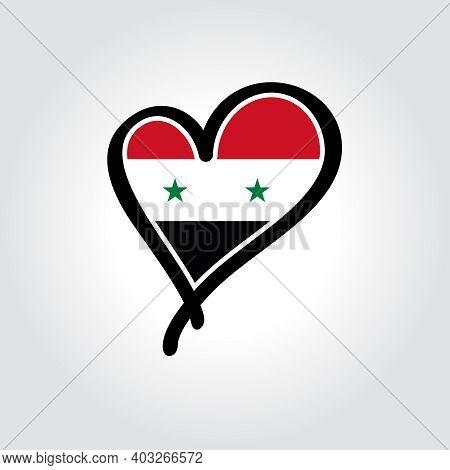 Syrian Flag Heart-shaped Hand Drawn Logo. Vector Illustration.