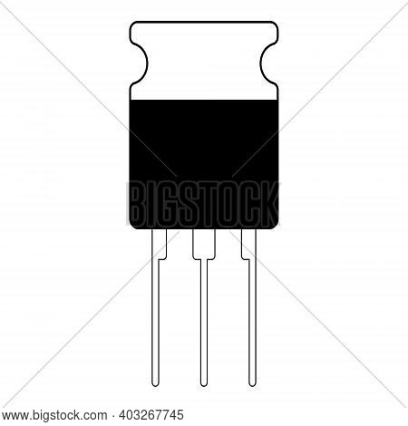 Transistor Semiconductor Element Icon, Vector Electronic Component Transistor