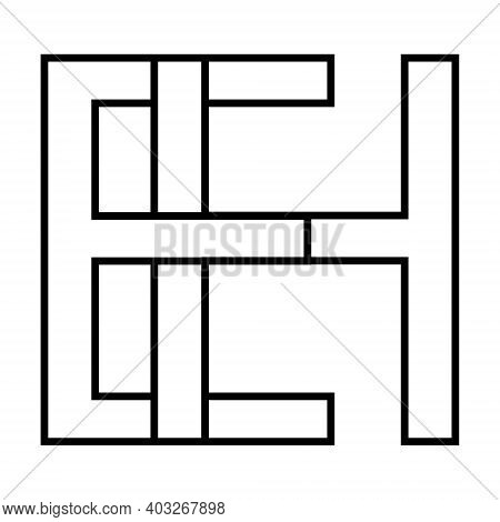 Logo Sign Eh And He Icon Sign Interlaced Letters H, E Vector Logo Eh, He First Capital Letters Patte