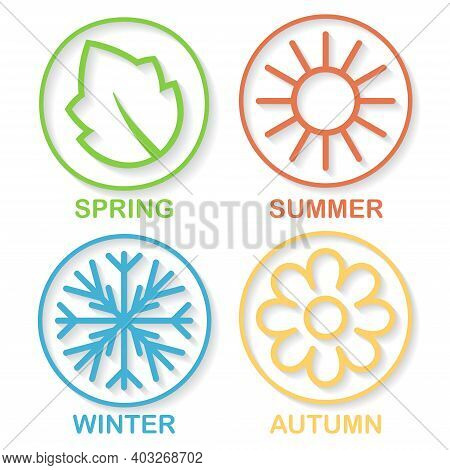 Different Colors Four Nature Seasons Icon Isolated On White. Outline Circle Symbols With Leaf, Sun,
