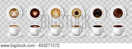 White Cups Of Coffee Top And Side View, Cappuccino, Americano, Espresso, Mocha, Latte, Cocoa. 3d Rea