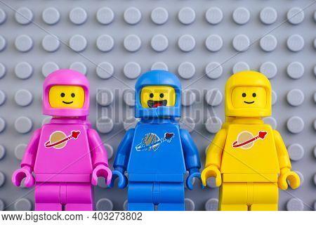 Tambov, Russian Federation - June 04, 2020 Three The Lego Movie 2 Astronaut Minifigures Against Gray