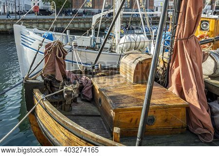 Copenhagen, Denmark - Oct 19, 2018: Two Boats Moored Alongside Each Other At The Iconic Downtown Nyh