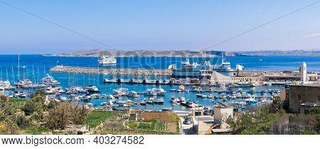 GOZO, MALTA - February 20, 2015. Port of Mgarr on the small island of Gozo, Malta. Panorama view.