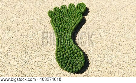 Concept or conceptual group of green forest tree on dry ground background, sign of a barefoot. A 3d illustration metaphor for nature, health, environment, carbon footprint and climate change