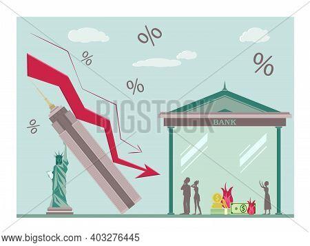 Economic Crisis Concept, Financial Crisis And Bankruptcy, Economic Downturn, Profit And Loss. Financ