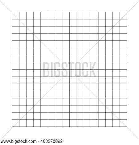 4x4 Empty Grid. Vector Template Square Cell Table. Graphic Puzzle Illustration Square Cell Grid
