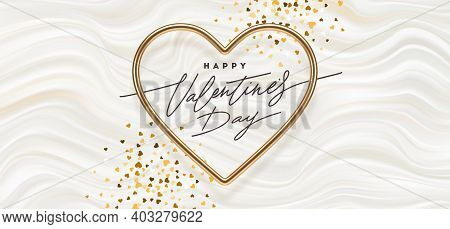 Valentines Day Vector Illustration. Calligraphic Greeting In Heart Shaped Golden Metallic Frame On A