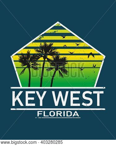 Key West Florida Print. Typography Design. Pattern On Shirt. Florida Illustration. Retro Style. - Ve