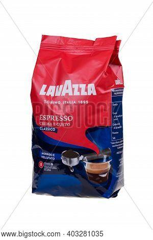 Burgas, Bulgaria - August 21, 2018: Lavazza Espresso Crema E Gusto Coffee Whole Beans, 1 Kg Bag Isol
