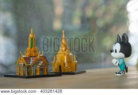 Bangkok, Thailand - January 14, 2021 : Figure Model Of Funko Pop! Mickey Mouse Thailand's National C