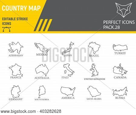 Map Of Country Line Icon Set, Country Collection, Vector Sketches, Logo Illustrations, Map Countries