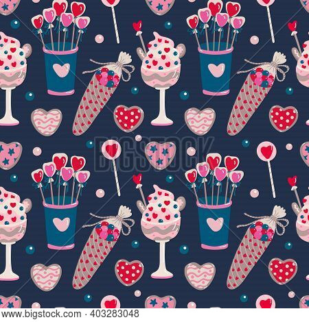 Vector Seamless Pattern With Sweet Food For Valentine's Day On Dark. Dessert, Candy And Heart Shaped