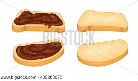 Set Of Vector Illustrations With Chocolate Paste Sandwiches And Slices Of Bread. Dessert. Sweet Snac