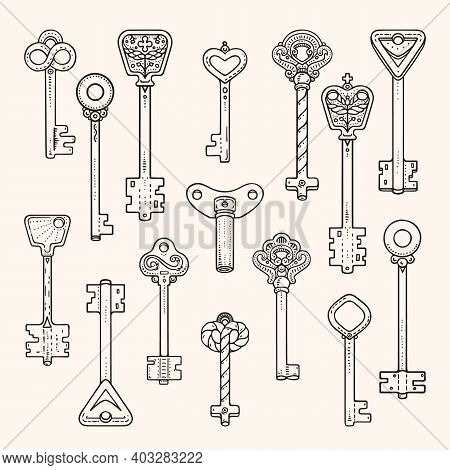 Antique Keys, Ancient Symbols, Vintage Locks. Artistic Collection Of Hand Drawn Illustrations Vector