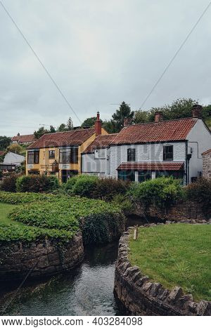 Cheddar, Uk - July 26, 2020: Colourful Houses In Cheddar, A Village Famous For Its Gorge And Is The