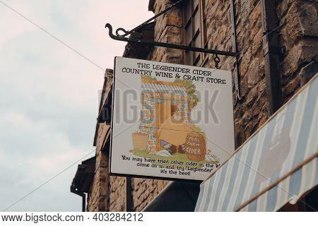 Cheddar, Uk - July 26, 2020: Sign Outside The Legbender Cider, Wine And Crafts Shop In Cheddar, A Vi