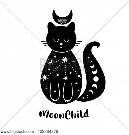 Moon Cat. Celestial Cat. Cute Animal. Black Cat Shape Isolated Tattoo Art, Spirituality, Boho Design
