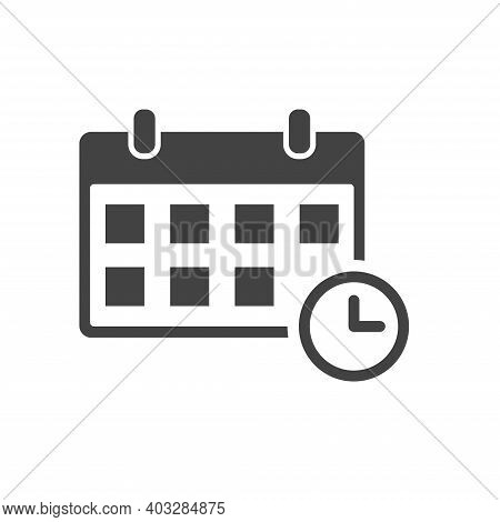Calendar Agenda Icon On White Isolated Background. Planner Vector Illustration In Flat Style. Calend