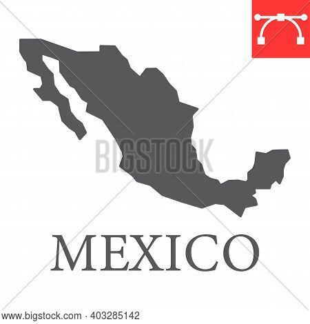 Map Of Mexico Glyph Icon, Country And Geography, Mexico Map Sign Vector Graphics, Editable Stroke So