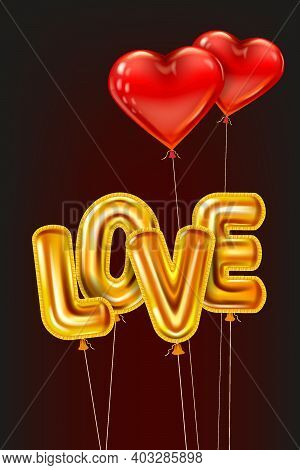 Love Gold Helium Metallic Glossy Balloons Realistic Text, Heart Shape Flying Red Balloons, Happy Val