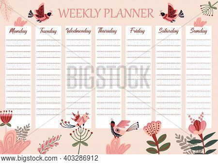 Weekly Planner With Geometric Birds. Schedule For A Week With Abstract Flowers. Spring Printable Tim