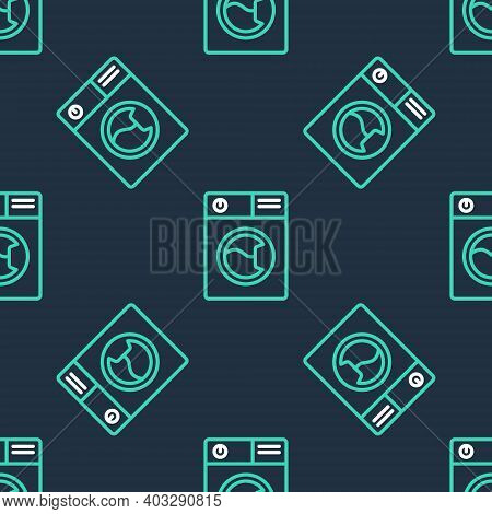 Line Washer Icon Isolated Seamless Pattern On Black Background. Washing Machine Icon. Clothes Washer
