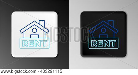 Line Hanging Sign With Text Rent Icon Isolated On Grey Background. Signboard With Text For Rent. Col