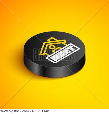 Isometric Line Hanging Sign With Text Rent Icon Isolated On Yellow Background. Signboard With Text F