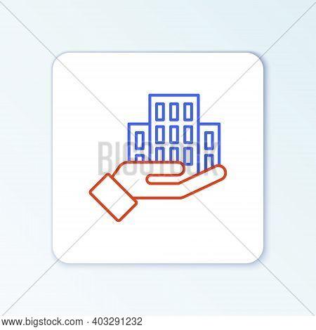 Line Skyscraper Icon Isolated On White Background. Metropolis Architecture Panoramic Landscape. Colo