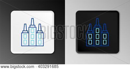 Line Skyscraper Icon Isolated On Grey Background. Metropolis Architecture Panoramic Landscape. Color