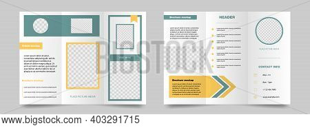 Trifold Brochure Mockup. Green And Yellow Magazine Poster. Editable Presentation Banner. Business Tr
