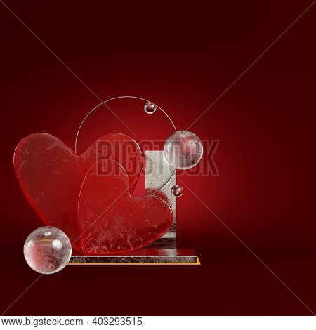 Abstract Heart With Geometric Figures On Dark Red Background. Minimalism Concept. 3d Render
