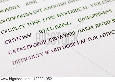 A Set Of Words For A Person With Bad Habits: Bad, Behavior, Harm, Loss And Others. Addiction And Soc