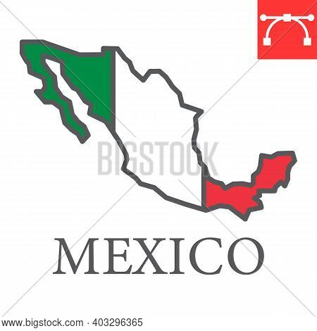 Map Of Mexico Color Line Icon, Country And Geography, Mexico Map Flag Sign Vector Graphics, Editable