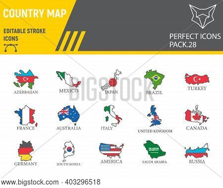 Map Of Country Color Line Icon Set, Country Flag Collection, Vector Sketches, Logo Illustrations, Ma