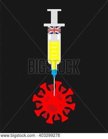 British Coronavirus Vaccine. British Flag On Syringe Pierces Covid-19 Bacteria. Cure For Infection