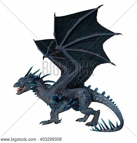 3D Rendering Fairy Tale Dragon On White