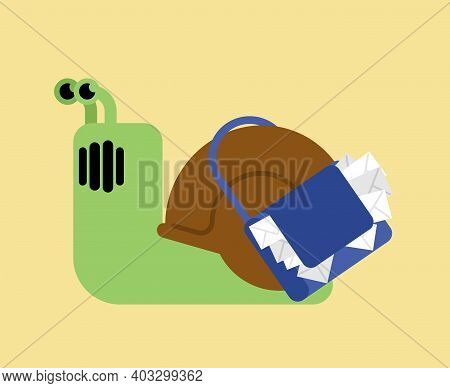 Snail Postman. Slug And Mail Bag With Letters. Slow Mail Concept