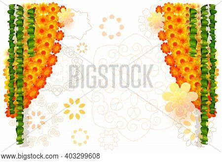 Indian Flower Garland Mala With Mango Leaves. Festive Holiday Ornament For Ugadi Background Template