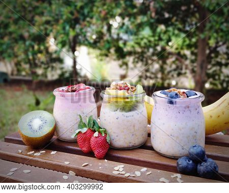 Overnight Oat In The Glass Jar With Fruit Topping