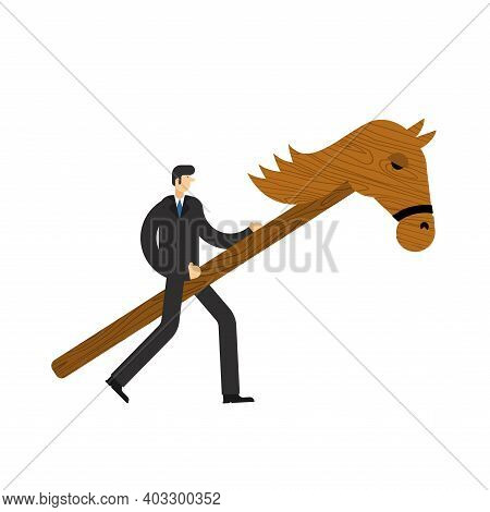 Businessman And Hobby Horse. Boss On Wooden Horse Toy. Vector Illustration