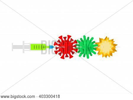 Super Vaccine Against Viruses And Bacteria. Syringe Pierces Bacteria. Cure For Infection