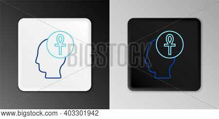 Line Cross Ankh Icon Isolated On Grey Background. Colorful Outline Concept. Vector