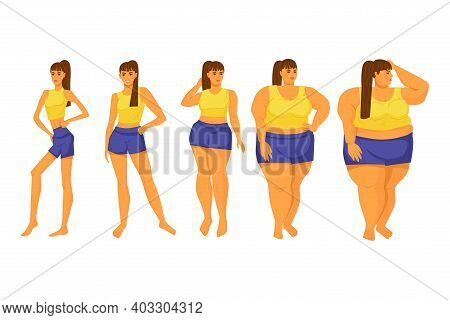 Body Mass Index. Girls Of Different Shapes. Diet. Obesity. Anorexia. Stock Vector Illustration. Isol