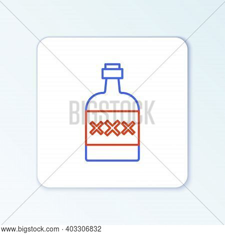 Line Tequila Bottle Icon Isolated On White Background. Mexican Alcohol Drink. Colorful Outline Conce