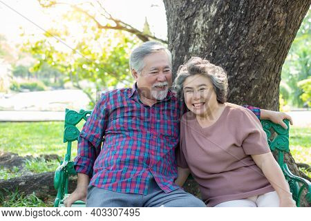 Portrait Senior Couple. Old Man And Old Woman Love Each Other Elderly Man And Elderly Woman Get Happ