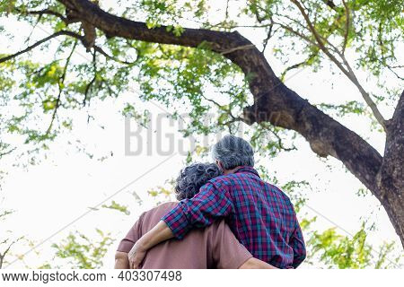 Happy Old Asian Couple Under Tree Old Man And Old Woman Or Grandfather And Grandmother Embracing Eac