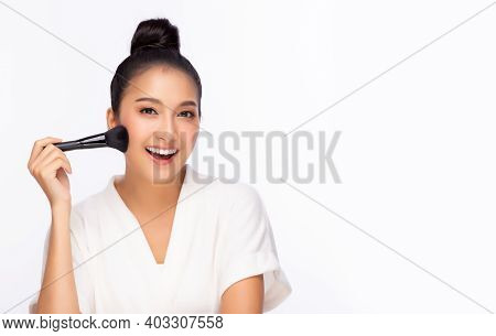 Happy Young Asian Woman Hold Makeup Brush Attractive Beautiful Girl Get Natural Makeup By Using Brus