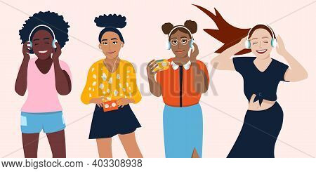 Young Women Different Ethnicities Are Listening To Music In Earphones And Enjoy Sound.fan,meloman.gi